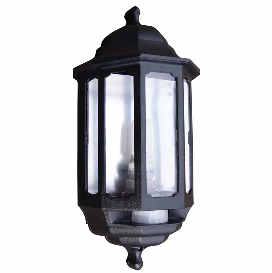 Asd hl bk118ep black pir activated 18w low energy half lantern aloadofball Choice Image
