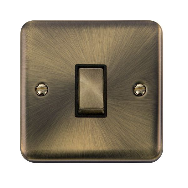 Click Deco Plus Antique Brass DPAB425BK10AX Ingot 1 Gang Intermediate Plate Switch - Blacks