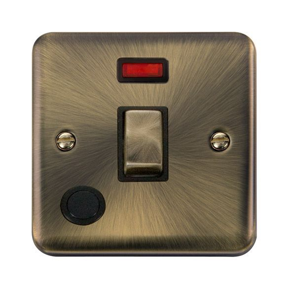 Click Deco Plus Antique Brass DPAB523BK20A Ingot 1 Gang DP Switch W/ Flex Outlet & Neon - Blacks