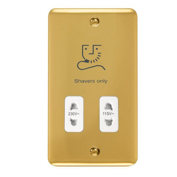 Click Deco Plus Polished Brass DPBR100WHDual Voltage Shaver Socket Outlet - 115/230V - white
