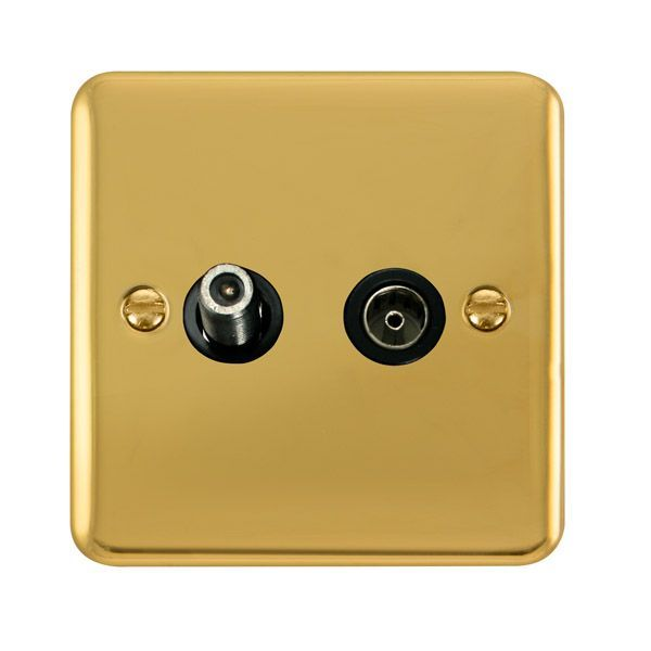 Click Deco Plus Polished Brass DPBR170BKNon-Isolated Satellite & Coaxial Outlet - Blacks
