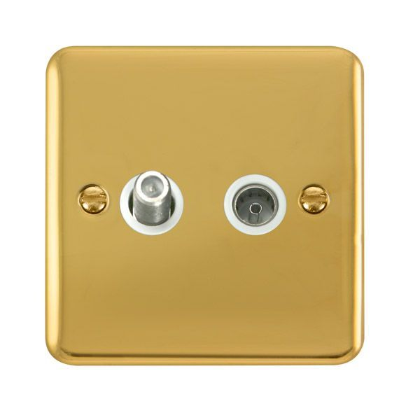 Click Deco Plus Polished Brass DPBR170WHNon-Isolated Satellite & Coaxial Outlet - white
