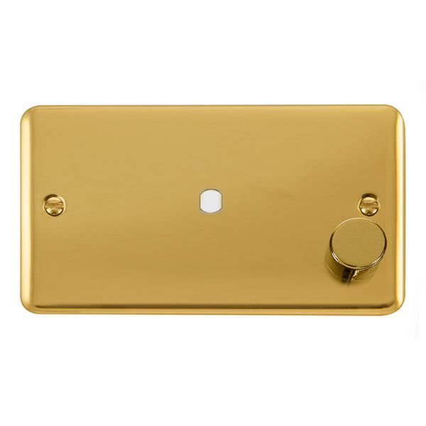 Click Deco Plus Polished Brass DPBR1852 Gang Dimmer Plate & Knob (630W or 1000W) - 1 Aperture