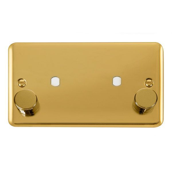 Click Deco Plus Polished Brass DPBR1862 Gang Dimmer Plate & Knobs (1630W Max) - 2 Apertures