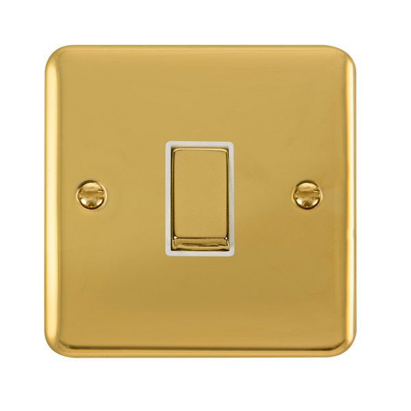Click Deco Plus Polished Brass DPBR411WH10AX Ingot 1 Gang 2 Way Plate Switch - white