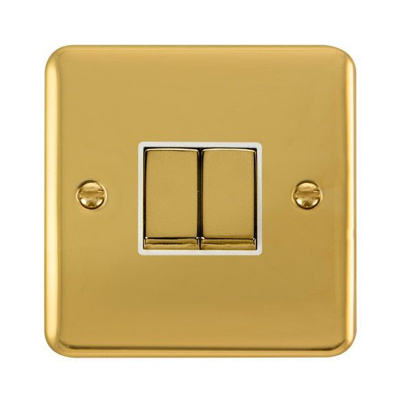Click Deco Plus Polished Brass DPBR412WH10AX Ingot 2 Gang 2 Way Plate Switch - white