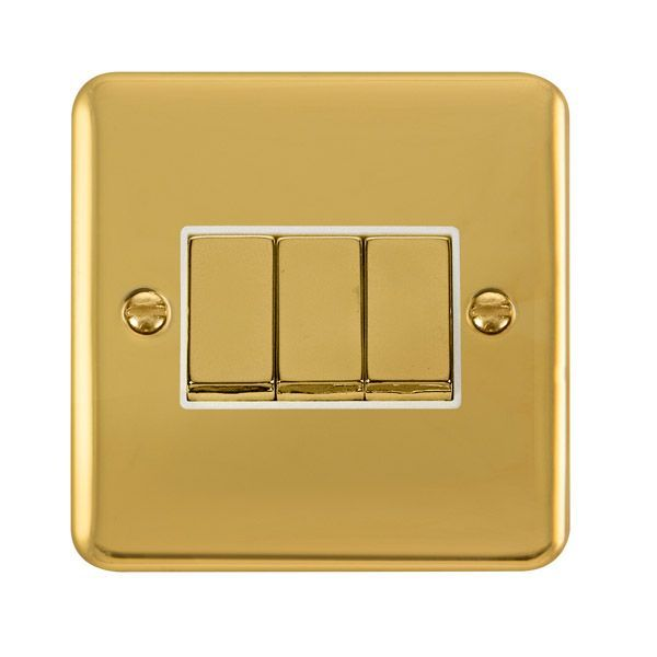 Click Deco Plus Polished Brass DPBR413WH10AX Ingot 3 Gang 2 Way Plate Switch - white