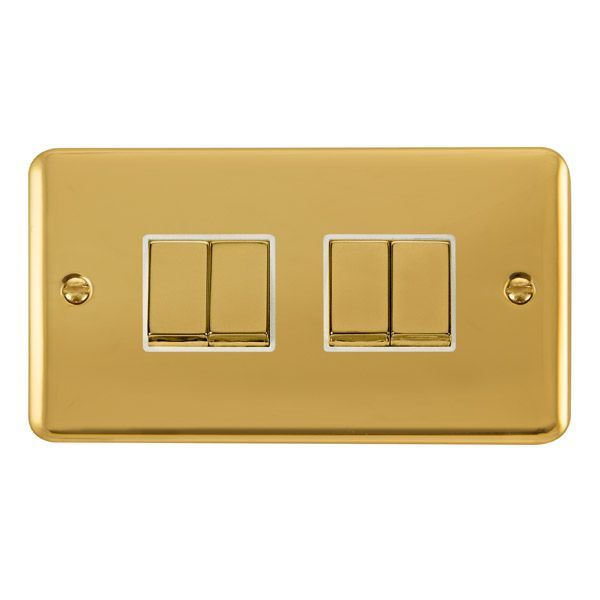 Click Deco Plus Polished Brass DPBR414WH10AX Ingot 4 Gang 2 Way Plate Switch - white