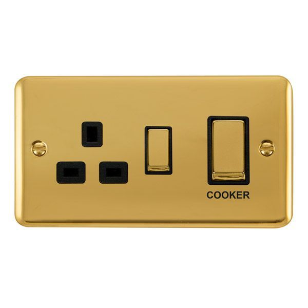 Click Deco Plus Polished Brass DPBR504BK45A Ingot 2 Gang DP Switch W/ 13A DP Switched Socket - black