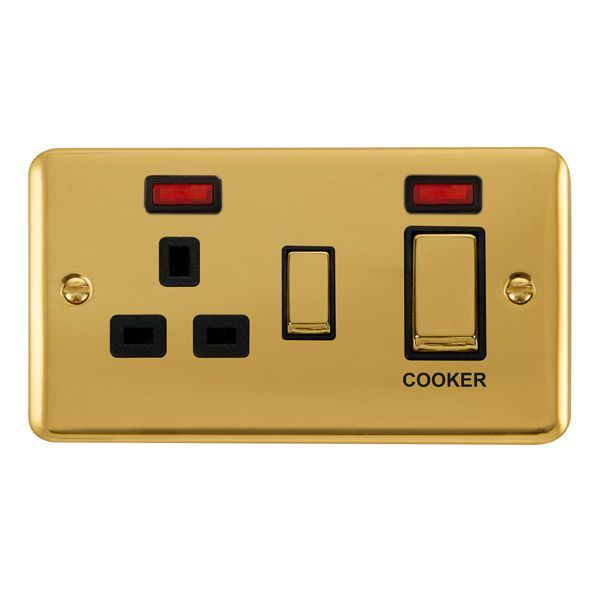Click Deco Plus Polished Brass DPBR505BK45A Ingot 2 Gang DP Switch W/ 13A DP Switched Socket & Neons