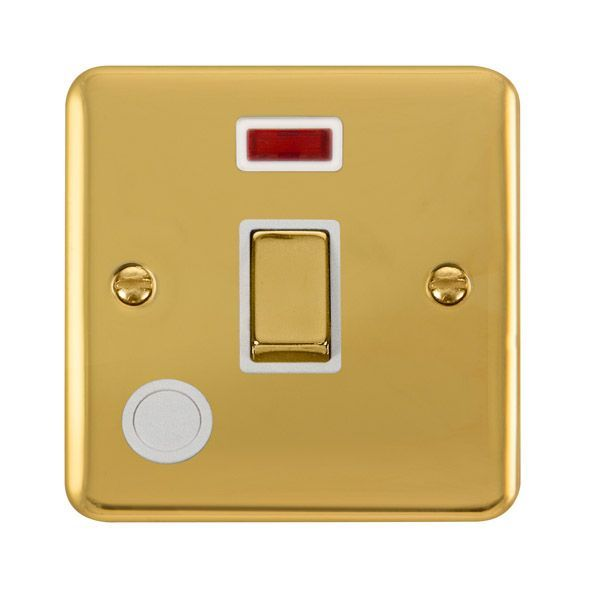 Click Deco Plus Polished Brass DPBR523WH20A Ingot 1 Gang DP Switch W/ Flex Outlet & Neon - white