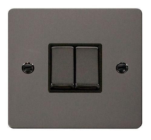 Click FPBNBK-SMART2 1G Plate 2 Apertures  2 x 10AX 2 Way Ingot Retractive Switch Modules - Black