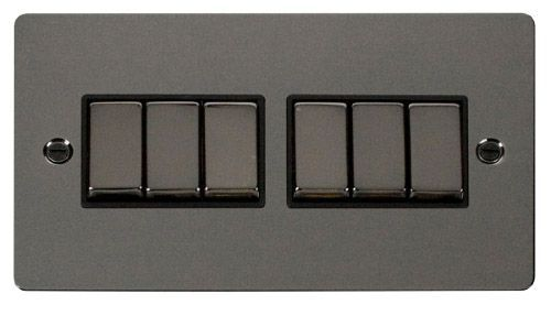 Click FPBNBK-SMART6 2G Plate 2 x 3 Apertures  6 x 10AX 2 Way Ingot Retractive Switch Modules - Black