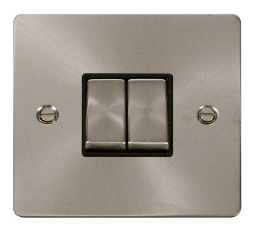 Click FPBSBK-SMART2 1G Plate 2 Apertures  2 x 10AX 2 Way Ingot Retractive Switch Modules - Black