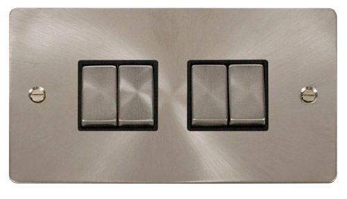 Click FPBSBK-SMART4 2G Plate 2 x 2 Apertures  4 x 10AX 2 Way Ingot Retractive Switch Modules - Black