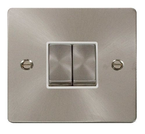 Click FPBSWH-SMART2 1G Plate 2 Apertures  2 x 10AX 2 Way Ingot Retractive Switch Modules - White