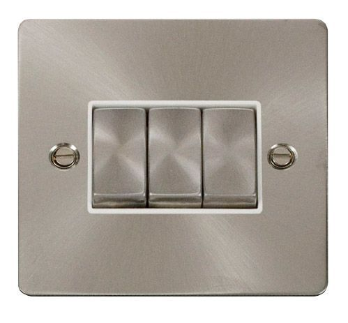 Click FPBSWH-SMART3 1G Plate 3 Apertures  3 x 10AX 2 Way Ingot Retractive Switch Modules - White