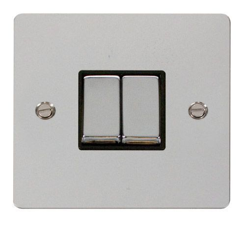 Click FPCHBK-SMART2 1G Plate 2 Apertures  2 x 10AX 2 Way Ingot Retractive Switch Modules - Black