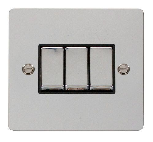 Click FPCHBK-SMART3 1G Plate 3 Apertures  3 x 10AX 2 Way Ingot Retractive Switch Modules - Black