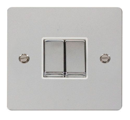 Click FPCHWH-SMART2 1G Plate 2 Apertures  2 x 10AX 2 Way Ingot Retractive Switch Modules - White