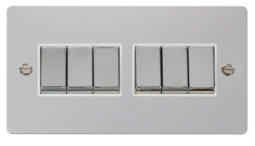 Click FPCHWH-SMART6 2G Plate 2 x 3 Apertures  6 x 10AX 2 Way Ingot Retractive Switch Modules - White