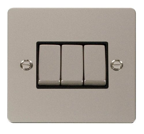 Click FPPNBK-SMART3 1G Plate 3 Apertures  3 x 10AX 2 Way Ingot Retractive Switch Modules - Black