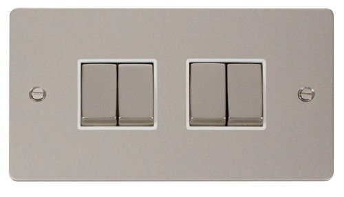 Click FPPNWH-SMART4 2G Plate 2 x 2 Apertures  4 x 10AX 2 Way Ingot Retractive Switch Modules - White