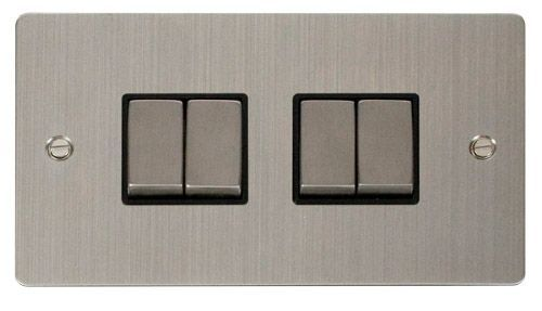 Click FPSSBK-SMART4 2G Plate 2 x 2 Apertures  4 x 10AX 2 Way Ingot Retractive Switch Modules - Black