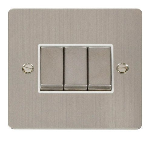 Click FPSSWH-SMART3 1G Plate 3 Apertures  3 x 10AX 2 Way Ingot Retractive Switch Modules - White