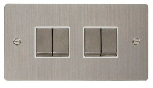 Click FPSSWH-SMART4 2G Plate 2 x 2 Apertures  4 x 10AX 2 Way Ingot Retractive Switch Modules - White