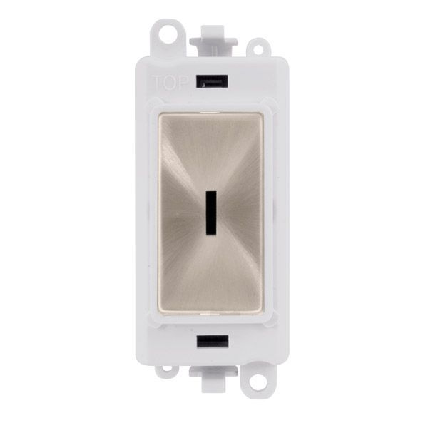 Click Grid Pro GM2014PWBS  20AX 2 Way Retractive Keyswitch Module - White - Brushed Stainless