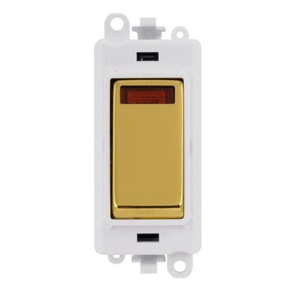 Click Grid Pro GM2018NPWBR  20AX Double Pole Switch W/ Neon Module - White - Polished Brass