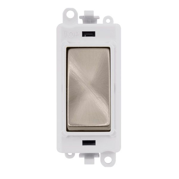 Click Grid Pro GM2075PWBS  20AX 3 Position Retractive Switch Module - White - Brushed Stainless