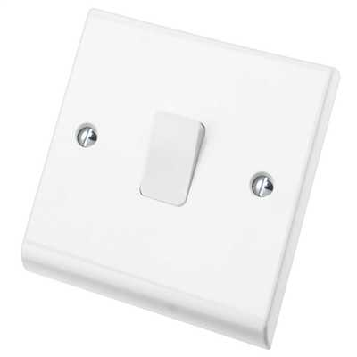 Deta S1202 Slimline 1 Gang 1 Way Plate Rocker Switch 10A X Rated White Moulded