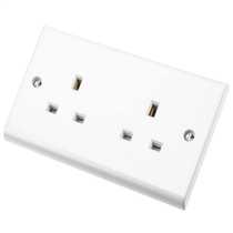 Deta S1208 Slimline 2 Gang 13A Unswitched Socket 10A White Moulded