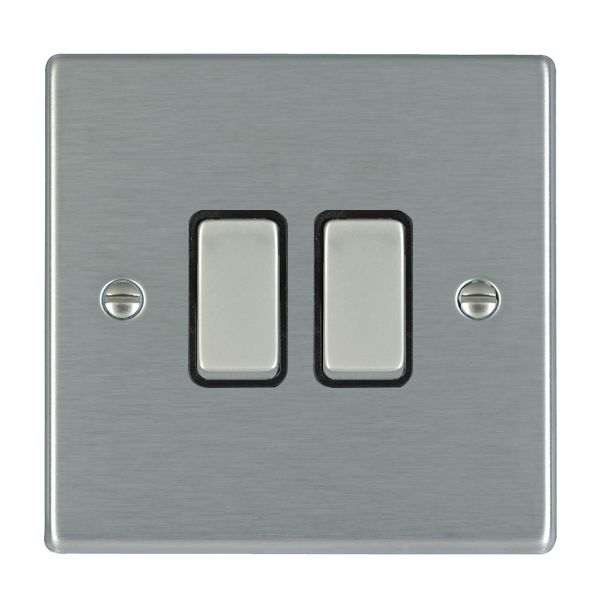Hartland 74R32SS-B and 74R32SS-W Stainless Steel Light Switch 2G Intermediate