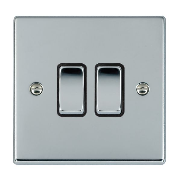 Hartland 77R22BC-B and 77R22BC-W Bright Chrome Light Switch 2G 2W