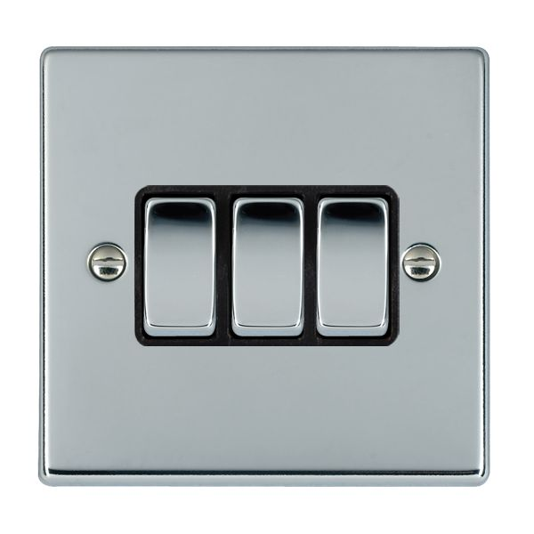 Hartland 77R23BC-B and 77R23BC-W Bright Chrome Light Switch 3G 2W