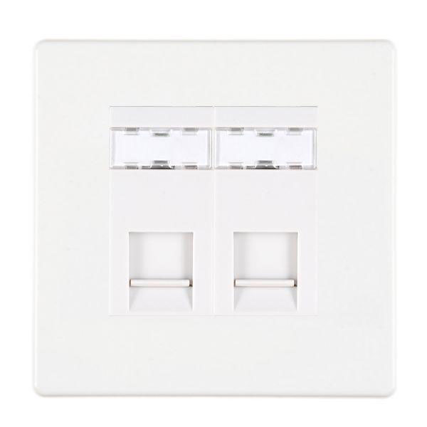 Hartland CFX 7WC2J45W White RJ45 Socket 2 Gang