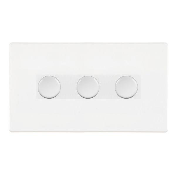 Hartland CFX 7WC3X40WH White Push Dimmer 3 Gang 2 Way 400W