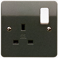 MK Electric K2757GRA Logic Plus Graphite 1 Gang DP Socket W/ White Rocker & Dual Terminals 13A