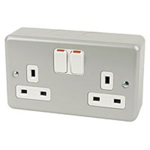 MK Electric K2946ALM Metalclad Plus 2 Gang Shuttered Switched Socket with Mounting Box.