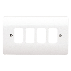 MK Electric K3634WHI Logic Plus White 4 Module Frontplate 86mm x 146mm.