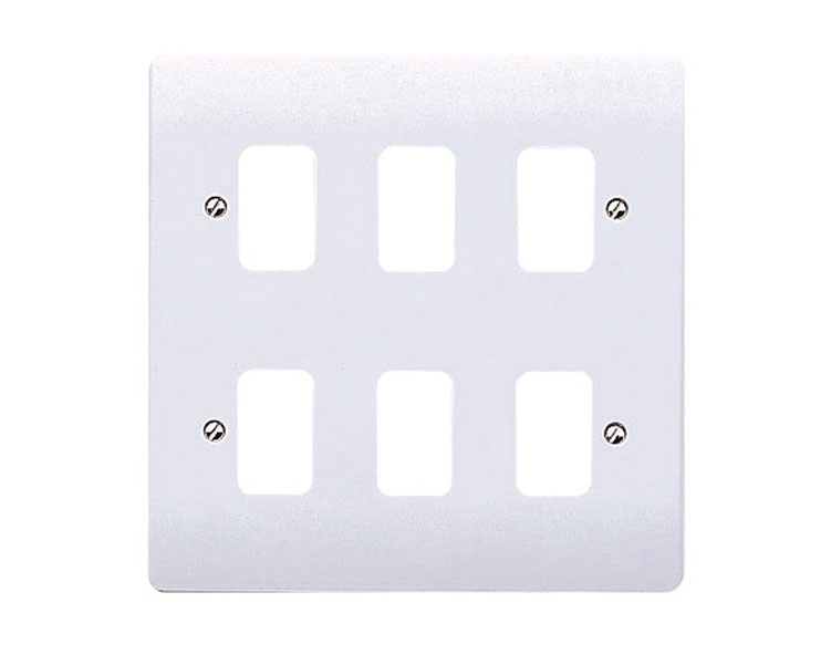 MK Electric K3636WHI Logic Plus White 6 Module Frontplate 146mm x 146mm.