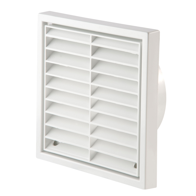 "Primero FFG100WH 4"" White Fixed Louvre Wall Grille"