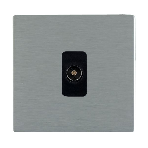 Sheer CFX 84CTVIB and 84CTVIW Satin Steel TV Socket Isolated