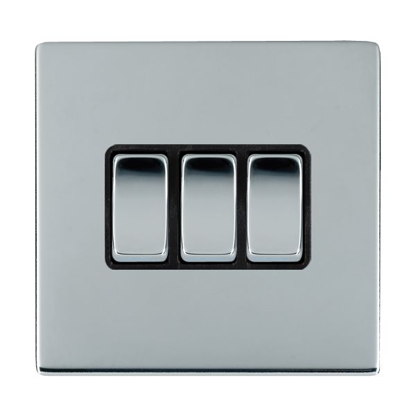 Sheer CFX 87CR23BC-B and 87CR23BC-W Bright Chrome 10a Light Switch 3G 2W