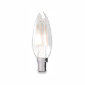 Bell Lighting 05128 4W LED Filament Satin Candle - SBC, 2700K