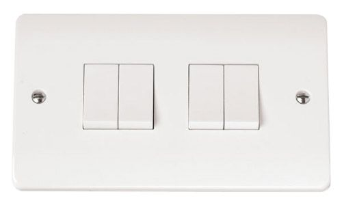 Click MODECMA-SMART4 2G Plate 2 x 2 Apertures Supplied With 4 x 10AX 2 Way Retractive Switch Modules