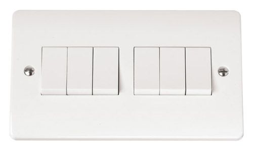 Click MODECMA-SMART6 2G Plate 2 x 3 Apertures Supplied With 6 x 10AX 2 Way Retractive Switch Modules
